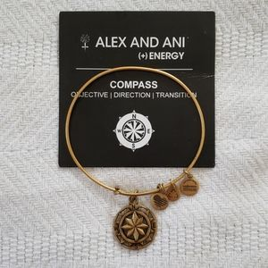 Alex and Ani Gold Tone Compass Bracelet with Card